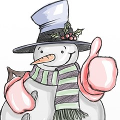 design with cheerful snowman