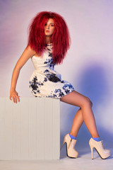 Beautiful model with red hair