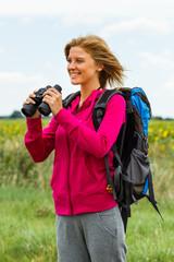 Enjoying nature with binoculars