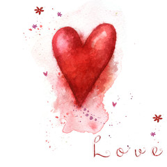 Watercolor painted red heart.Love heart design.