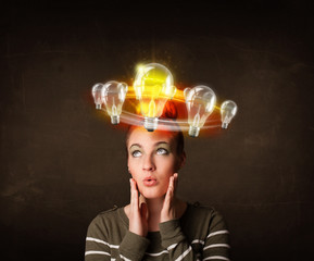 woman with light bulbs circleing around her head