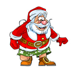 cartoon caricature of Santa Claus in shorts