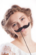 Beautiful girl with mustache sign