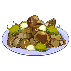 pickled mushrooms on a plate