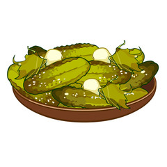 pickled cucumbers on a platter