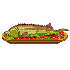 sturgeon fish baked with vegetables on a platter