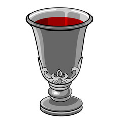 silver goblet with wine