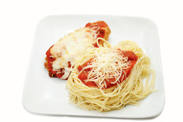 A Serving of Spaghetti and Chicken Parmesan