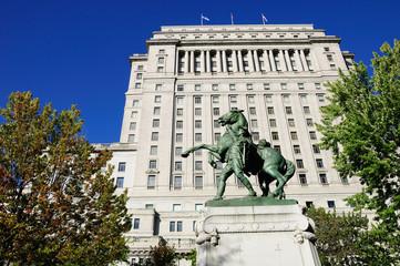 Boer war memorial and Sun Life Building. Montreal. Canada.