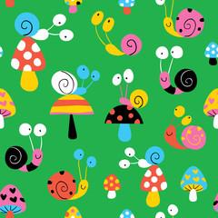 snails & mushrooms pattern