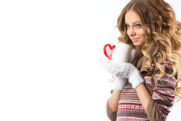 Portrait of beautiful girl with hot cup