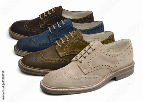 canvas print picture suede men's shoes of different colors