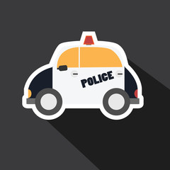 Vector of police car with long shadow
