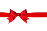Red satin gift ribbon and bow border isolated on white