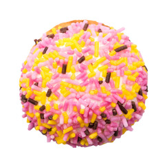 Marshmallow Cookie With Colorful Sugar Sprinkles Isolated