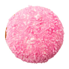 Marshmallow Cookie With Pink Sugar Sprinkles Isolated