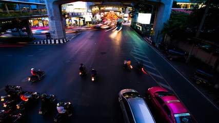 Time-lapse of traffic junction at twilight