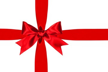Red satin gift bow and ribbon isolated on a white background