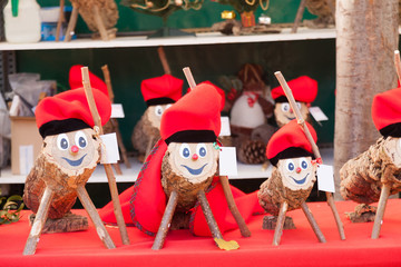 Tio de Nadal on Christmas market