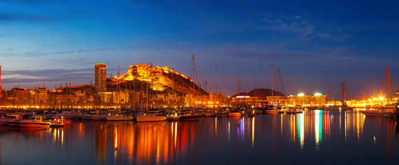 Panorama of port with yachts  in night. Alicante