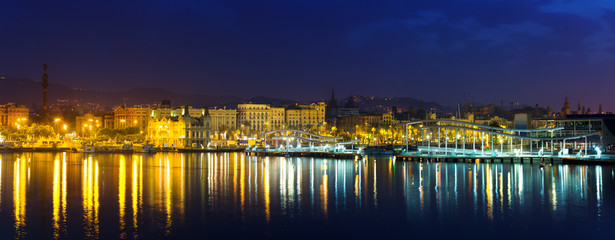 panorama of Barcelona from Port Vell