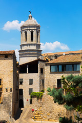 view of Girona with bell tower of Gothic Cathedral