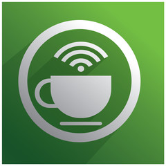 White cup of coffee and WiFi
