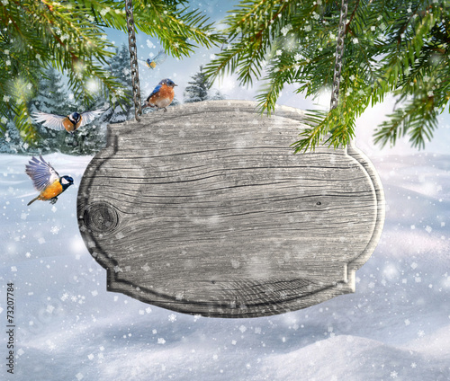 canvas print picture Wooden signboard in winter