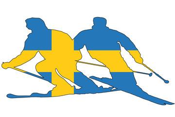 sweden flag into skier silhouette, vector