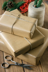 Rustic Christmas Gifts on wooden background