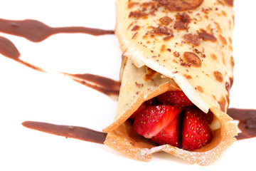 pancakes with strawberry and chocolate on white