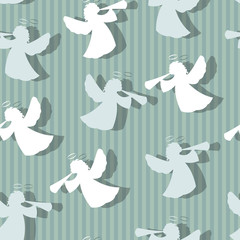 Christmas angels silhouette seamless pattern.