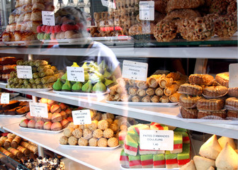 bakery storefront: collection of french pastry