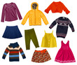 canvas print picture - Children modern clothes collage.Isolated.
