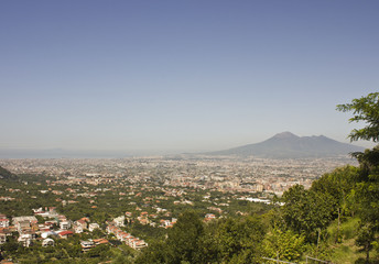 Landscape view of the Vesuvio, with Naples cityscape below