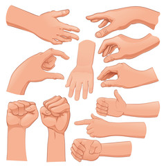 Set of several hands
