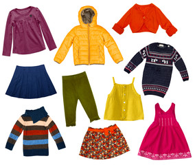 Children modern clothes collage.Isolated.