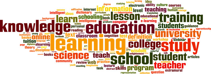 Learning word cloud concept. Vector illustration