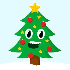 Happy smiling Christmas tree