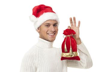 Happy boy with santa hat