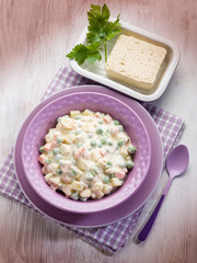 russian salad with tofu cheese