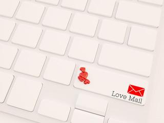love mail concept, 3d render keyboard