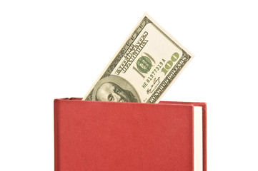 Angled Horizontal Red Book With Blank Cover and Money