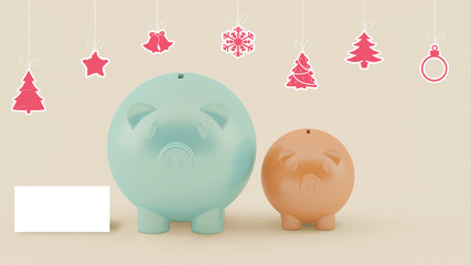 two different piggy bank with christmas decoration