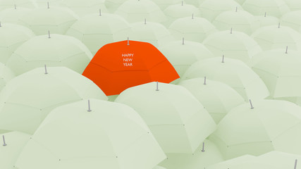 3d concept, showing unique happy new year umbrella,