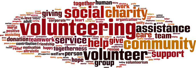 Volunteering word cloud concept. Vector illustration
