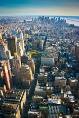Aerial view over Lower Manhattan New York