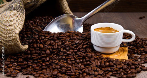 canvas print picture warm cup of coffee