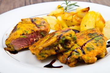 agnello impanato con patate