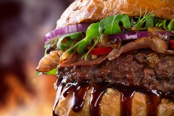 Tasty burger, close-up.